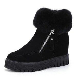 Image 4 - SWYIVY espadrilles décontractées femmes chaussures compensées femme bottes dhiver 2019 neige chaude plate forme femme chaussons court en peluche bottines femme