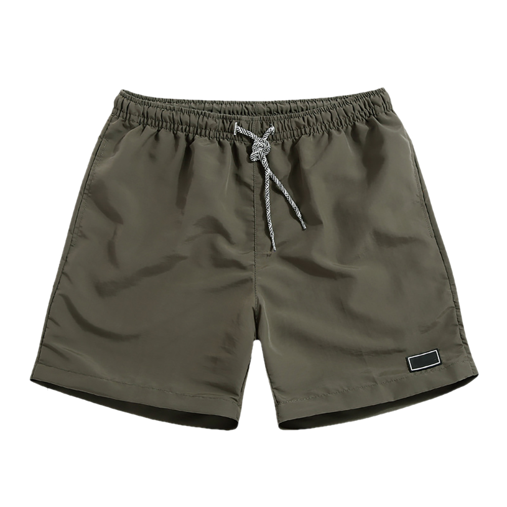 Men Casual Breathable Quick Dry Pants Pockets Beach Solid Color Sport Shorts 4