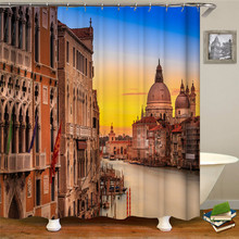 Different countries landscape display shower curtain waterproof bathroom polyester fabric