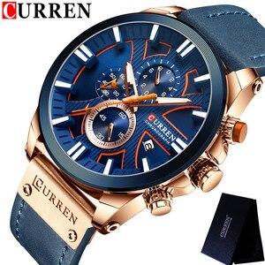 Image 4 - CURREN montre bracelet pour hommes, étanche chronographe, en cuir véritable, marque de luxe, nouvelle horloge, Sport, style militaire, 8346