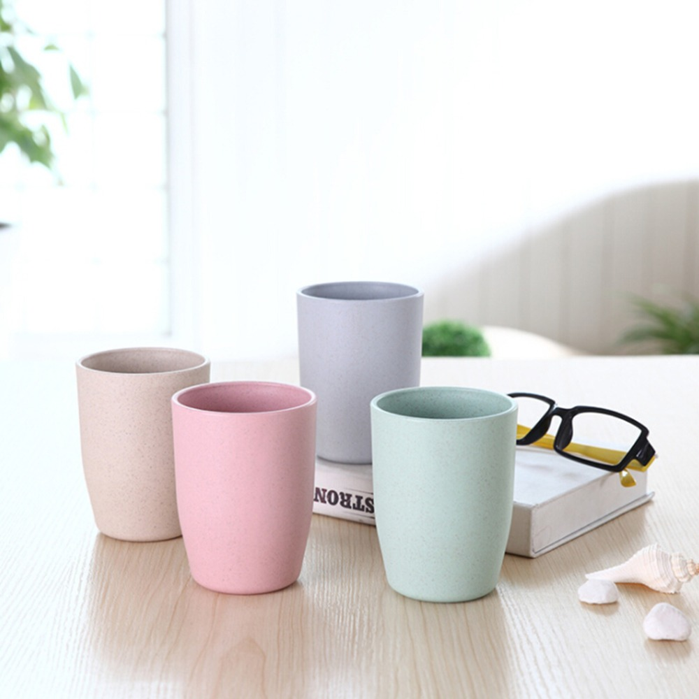 Hot Eco-friendly Creative Thick Circular Water Cups Toothbrush Holder Bamboo Fiber Cup Rinsing Cup Wash Tooth Mug Bathroom Cups