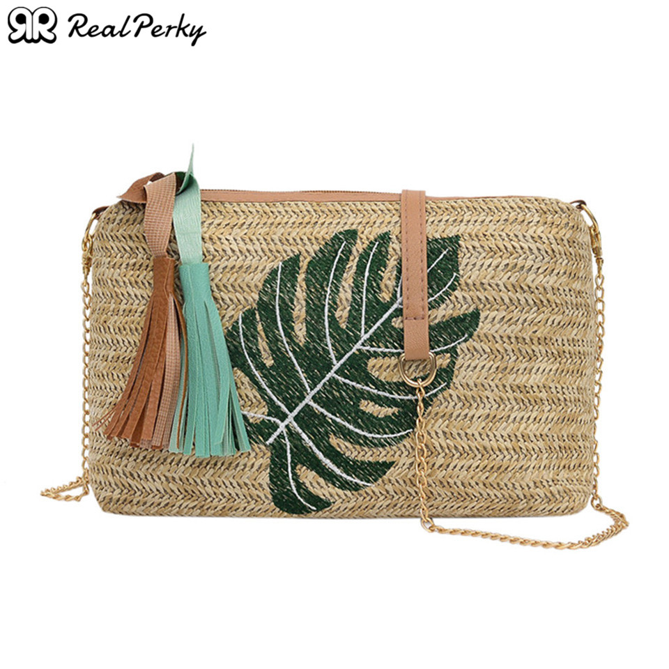 Square Vintage Women Straw Bags Handbags Female Summer New Tassel Rattan Beach Bags Ladies Handmade Woven Shoulder Messenger Bag