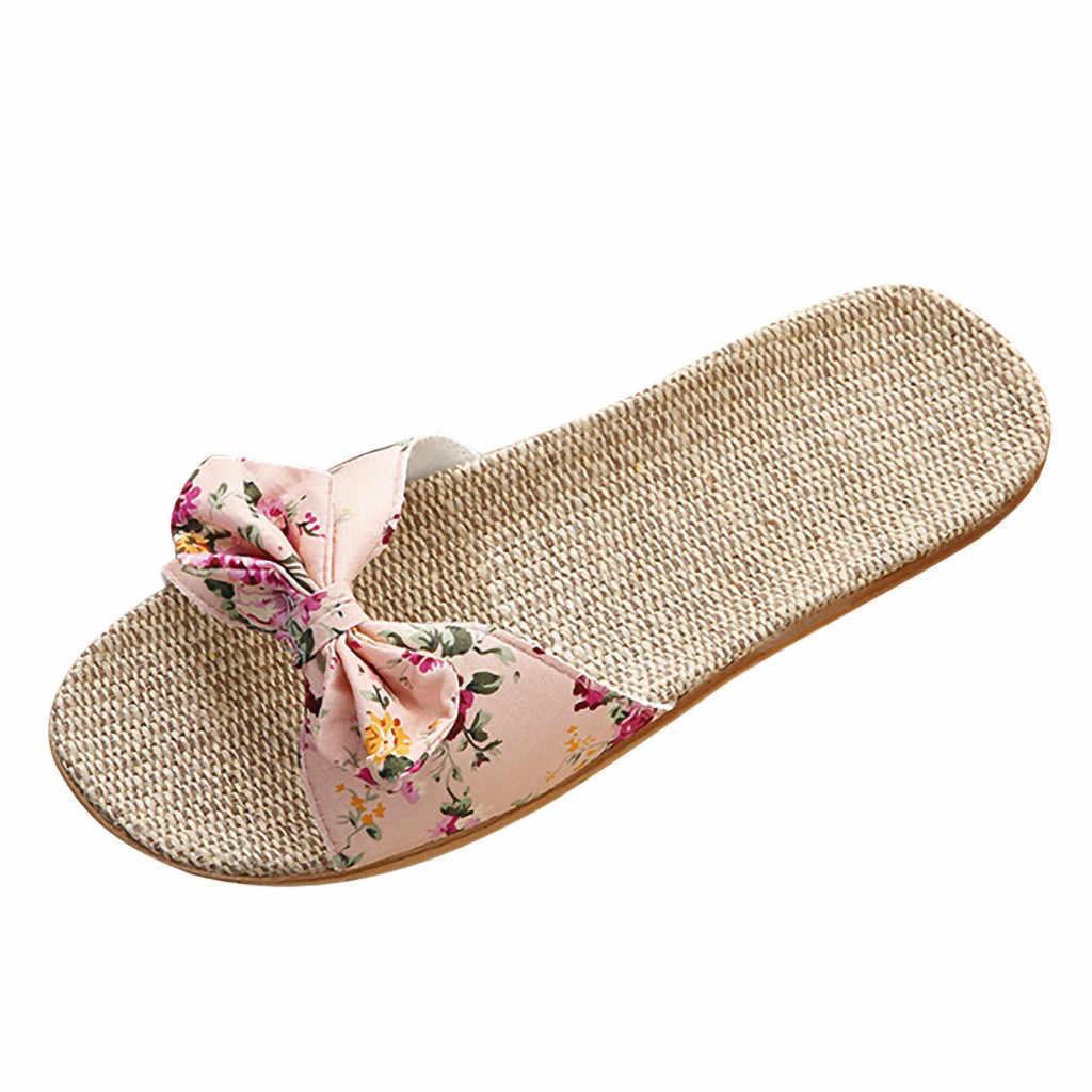 נשים פשתן נעלי בית קיץ מקרית שקופיות חוף נעלי גבירותיי מקורה נעל פשתן בוהמי פרחוני קשת כפכפים סנדלי הנעלה