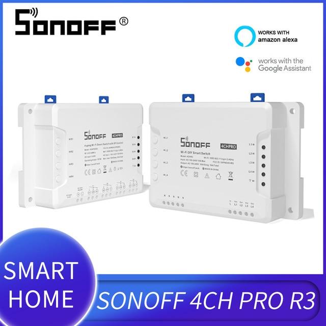 Sonoff 4CH Pro R3 Multi channel Draadloze Wifi Schakelaar Voor Slimme Huis Domotica Module 433Mhz Afstandsbediening 220V