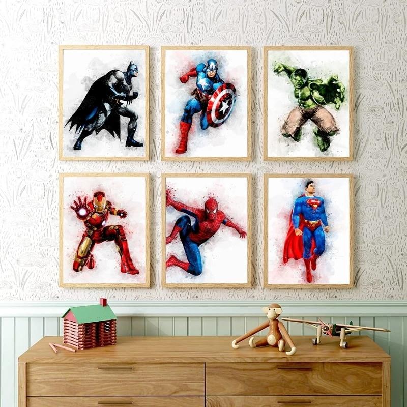 Superhéroe-cuadro sobre lienzo para pared de niños, decoración de pared de habitación, pósteres e impresiones de personajes de dibujos animados clásicos de superhéroes de acuarela