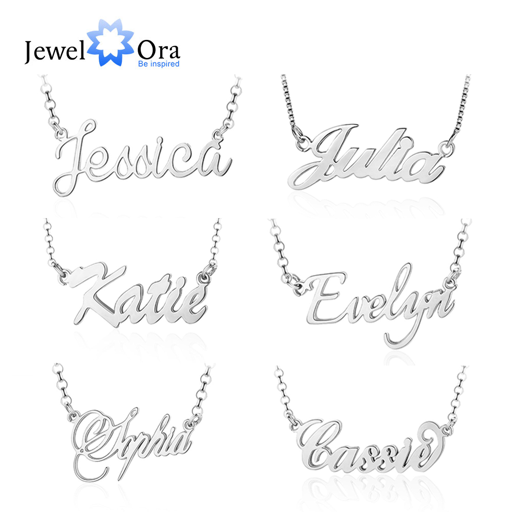 925 Sterling Silver Personalized Nameplate Letter Necklace Custom Made Name Pendant Russian Name Christmas Gifts for