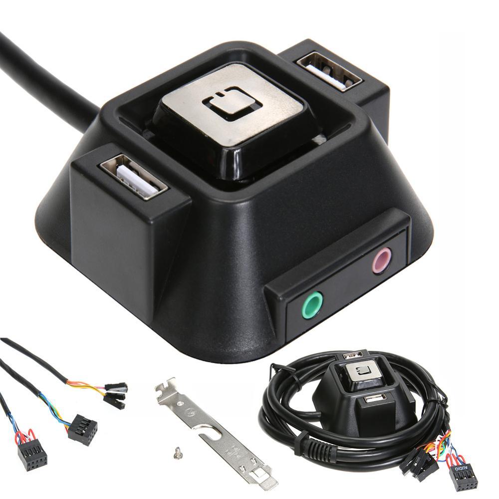1.2m desktop computador pc caso fonte de alimentação de ligar/desligar botão de reset interruptor bloco extensor cabo com porta usb dupla tomada de áudio