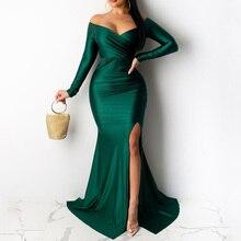 Сексуальный платье ночной клуб v-образный вырез зеленый платье однотонный цвет большой разрез длинный женский платья +осень зима элегантный женский зеленый платья