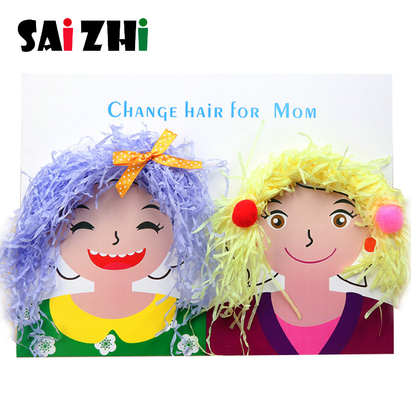Saizhi Children Handmade DIY Production Material Package Hairstyle Design Creative Art Toys Kids Hair Ball Diamond Paste Picture