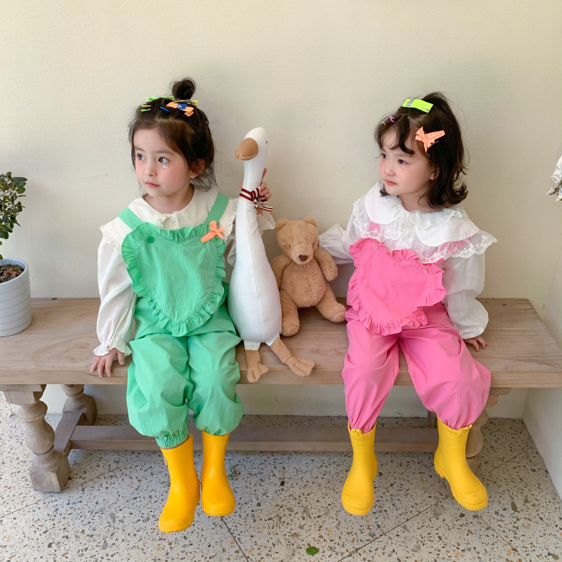 2021 Spring New Arrival Girls Fashion Cotton Overalls Kids Heart Overalls  Kids Jumpsuit 1