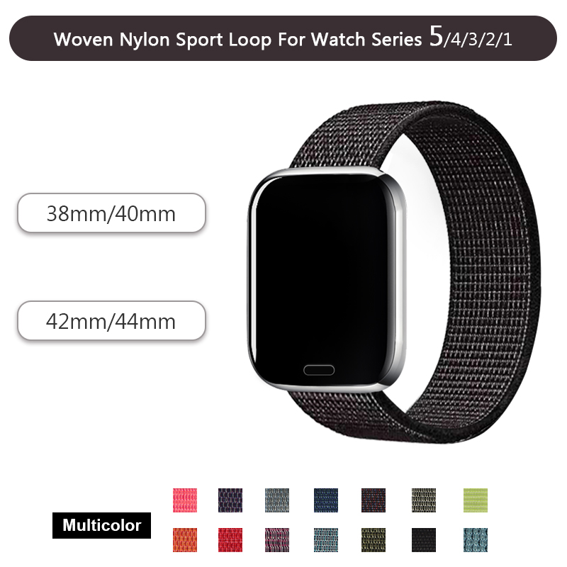 Belt Wristband Watch-Strap 40mm-Band Sport-Loop Woven 44mm for 5-4 Black White 42mm 38mm
