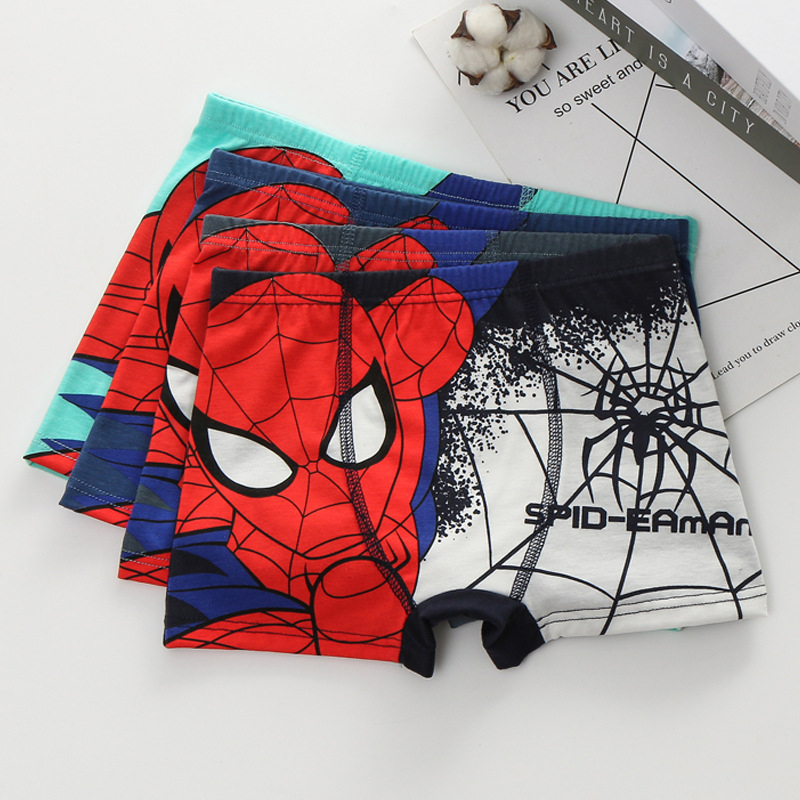 3 Pcs/Lot  Boys Cotton Underwear Movie Comic Boxers Underpants Super Hero Spiderman Kids Cotton Panties Male Under Wear Briefs