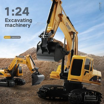 RC Trucks Mini Remote Control Bulldozer 1:24 5CH 6CH Alloy Engineering Car Dump Truck Crane Excavator Electric Vehicle Toys image