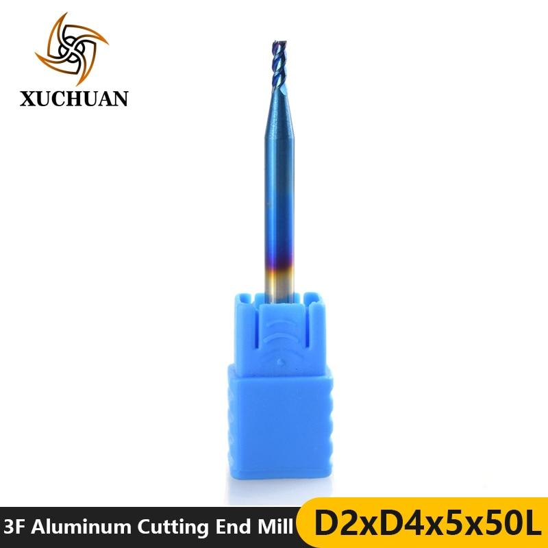 1pc 2mm Diameter Aluminum Cutting End Milling Cutter 3 Flutes Tungsten Steel End Milling Bit Nano Blue Coated CNC Router Bit