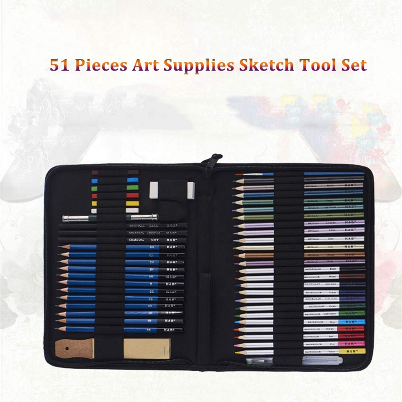 Image 5 - H&B 51Pcs/Set Professional Drawing Kit Wood Pencil Sketching Pencils Art Sketch Painting Supplies With Carrying BagArt Sets   -