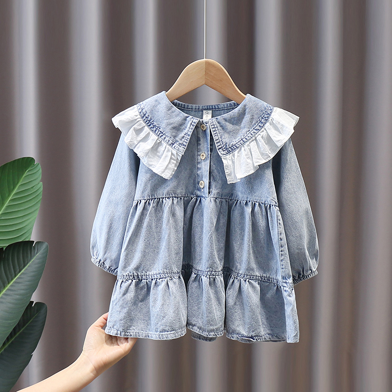 Spring kids girl's baby clothes denim dress costume for 1 2 3 4 5 6 years baby's birthday girls clothing loose dresses dress