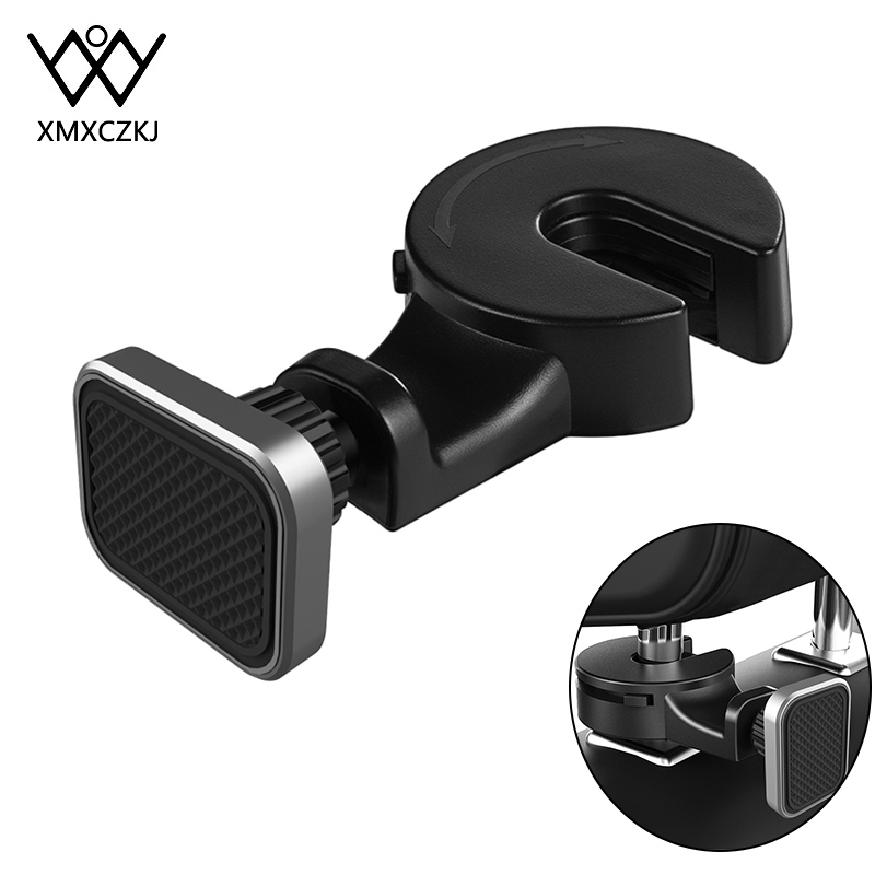 XMXCZKJ Magnetic Car Phone Holder Hook Back Seat Headrest 360 Rotation Tablet Holder For Phone Magnet Stand Holder Soporte Mount