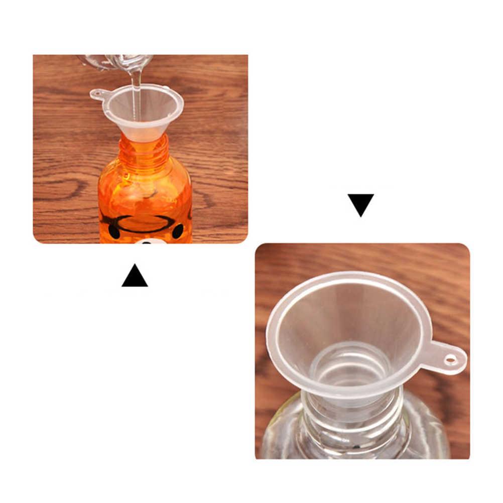 1 個スモールクリアプラスチックファンネル化粧品液体香水オイル充填空容器