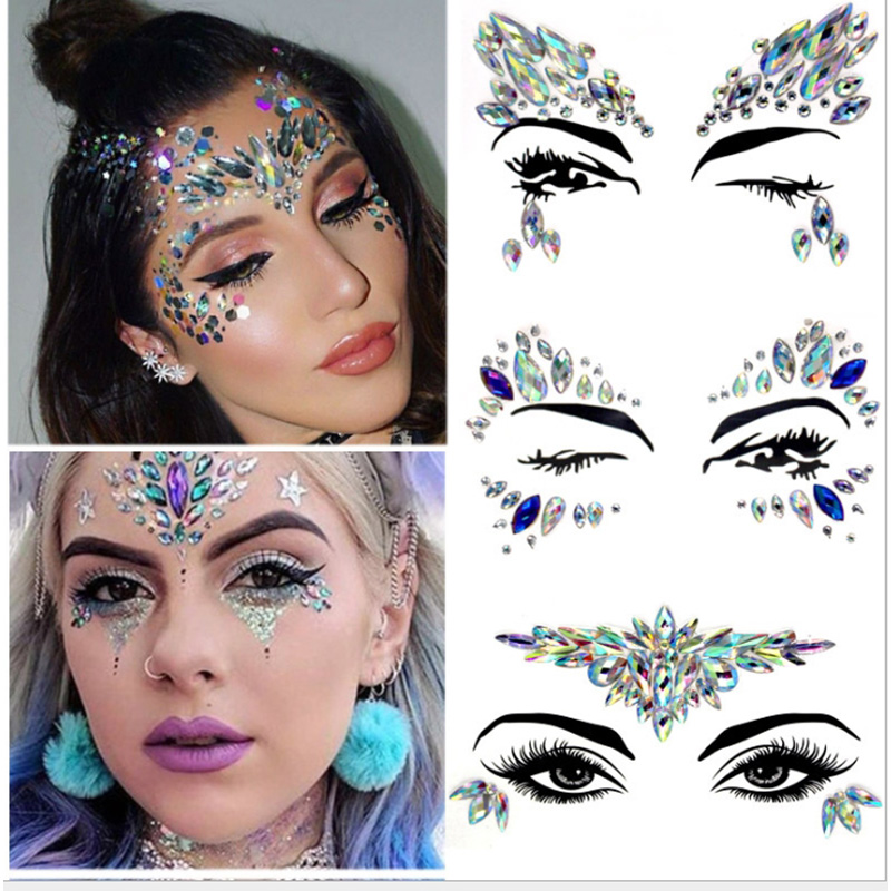Temporary Tattoo Sticker Makeup Facial Rhinestone Sticker Art Paste Glass Shiny Ornament Christmas Decoration For Holiday Party