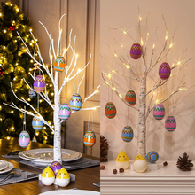60cm Birch Easter Egg Hanging Tree LED Lights Tree Happy Easter Desktop Ornaments Artificial