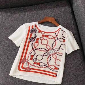 2020 Verano de alta calidad de las mujeres de Patchwork de seda de impresión de manga corta de moda nuevas camisetas Tops