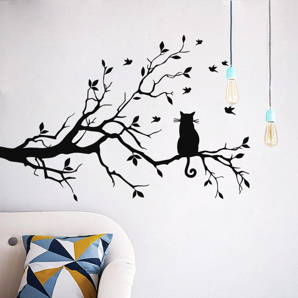 Cat On A Tree Branch Wall Sticker Living Room Sofa Background Bedroom Home Decoration Art Decals Wallpaper Hand Carved Stickers