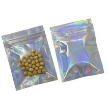 100pcs/lot 7.5x10cm Aluminum Foil / Clear Reclosable Valve Zipper Plastic Laser Packing Pack Bag Zip Lock Mylar Package