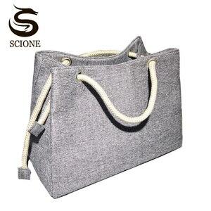 Image 1 - Mode femmes lin sac à main grand Shopping fourre tout vacances grand panier sacs été plage sac tissé plage sac à bandoulière JXY550
