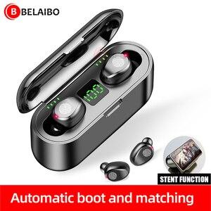 Image 1 - BluetoothワイヤレスイヤホンF9 twsイヤホンスポーツヘッドフォン低音ノイズキャンセルヘッドセット型充電ボックス