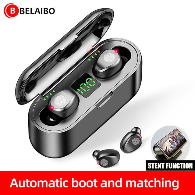 BluetoothワイヤレスイヤホンF9 twsイヤホンスポーツヘッドフォン低音ノイズキャンセルヘッドセット型充電ボックス