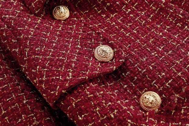 למעלה כיתה נשים של טוויד סט 2019 סתיו חורף נשים זהב כפתור דקו אדום משובץ טוויד מעיל + מיני צמר חצאית 2 סט חתיכה