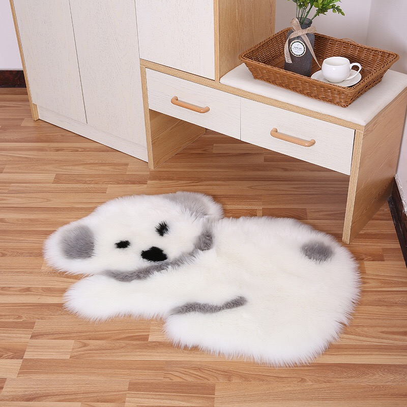Long Plush Panda Koala Rug Mat Mattress Living Room Bedroom Carpet Animal Shape Wool-like Sofa Cushion Artificial Fluffy Mats
