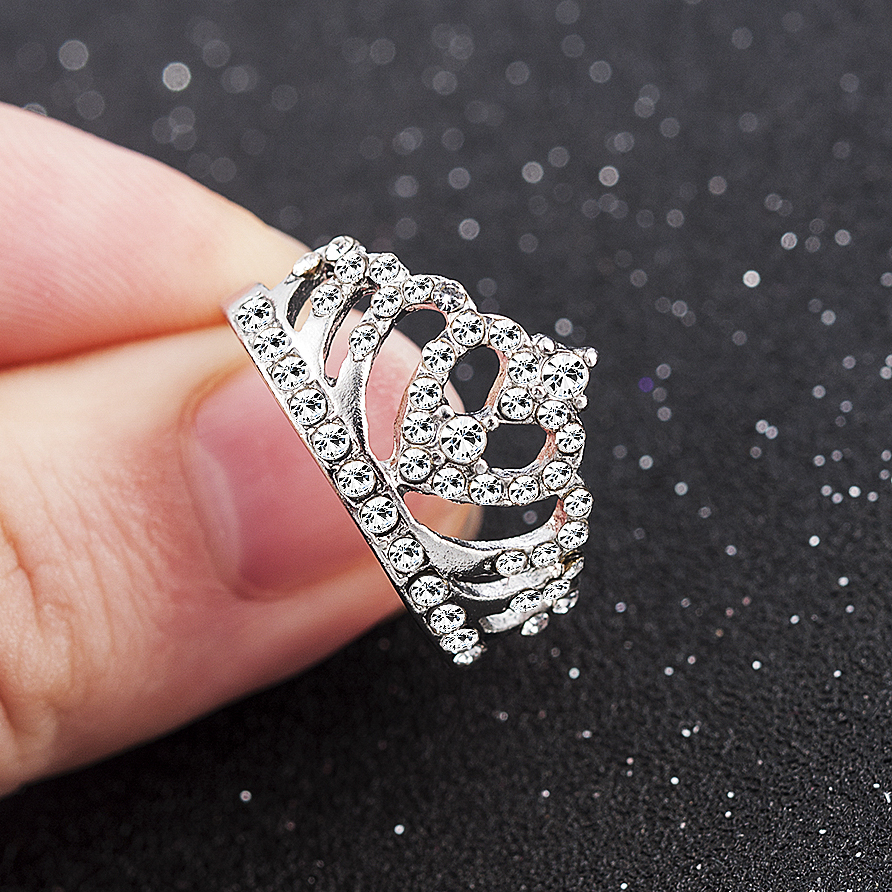 2019 New Fashion Silver Crown Shape Rhinestone Crystal Rings Women Girl Wedding Bridal Party Ring Jewelry