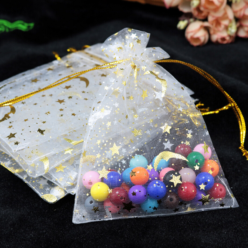 100pcs Organza Moon Star Stretchable Bags Gift Packaging Display Jewelry Pouches