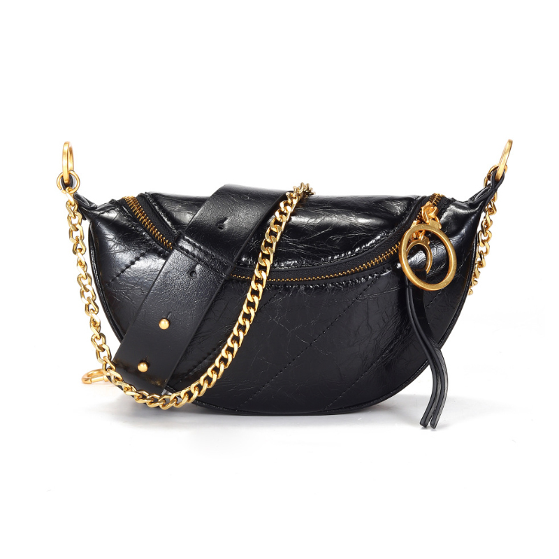 MAHEU High Fashion Pretty Girls Leather Waist Bag 100% Genuine Leather Waist Bags For Woman Female Fanny Pack With Iron Chain