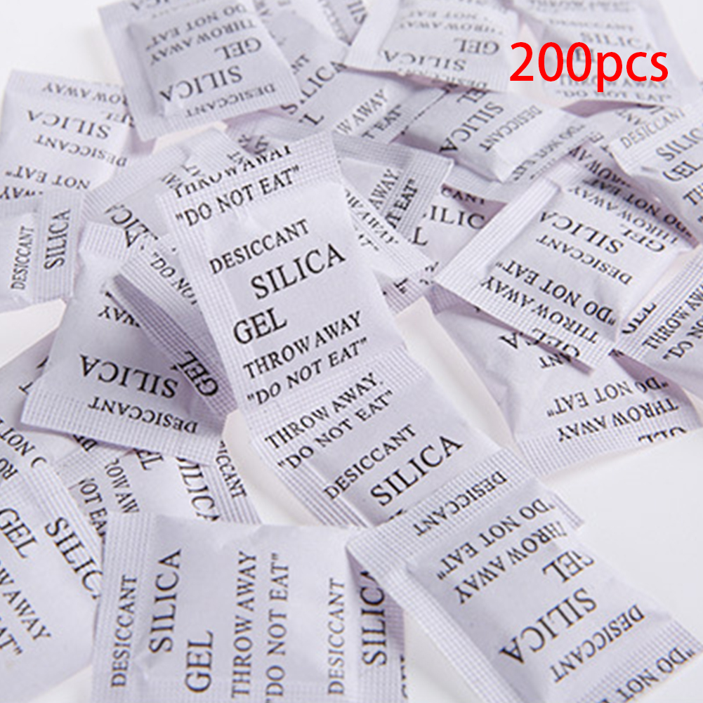 200pcs Non-Toxic Silica Gel Sachets Desiccant Pouches Drypack For Room Kitchen Car Clothes Food Storage Dryer 1g Silica Gel Pack