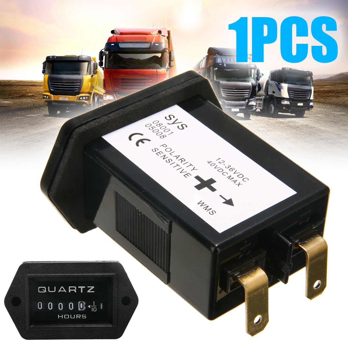DC 12V-36V Car Truck Tractor Hour Meter Outboard Engine Rectangular Meter Easy to Install For Marine Boat Truck