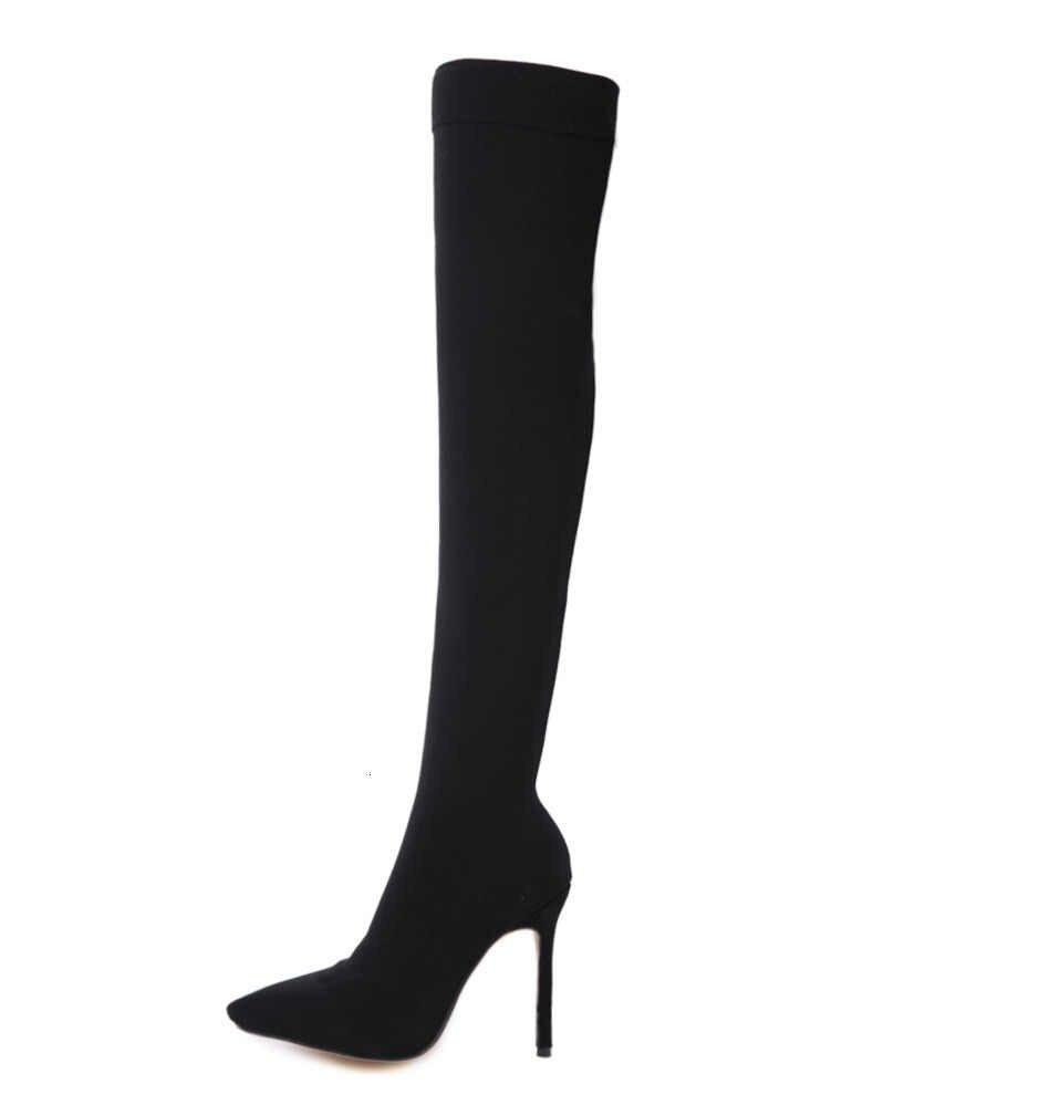 Moda 2019 botas de calcetín de tela elástica de pasarela punta puntiaguda sobre la rodilla talón muslo de Punta Alta de mujer talla de bota 35-42 nuevo