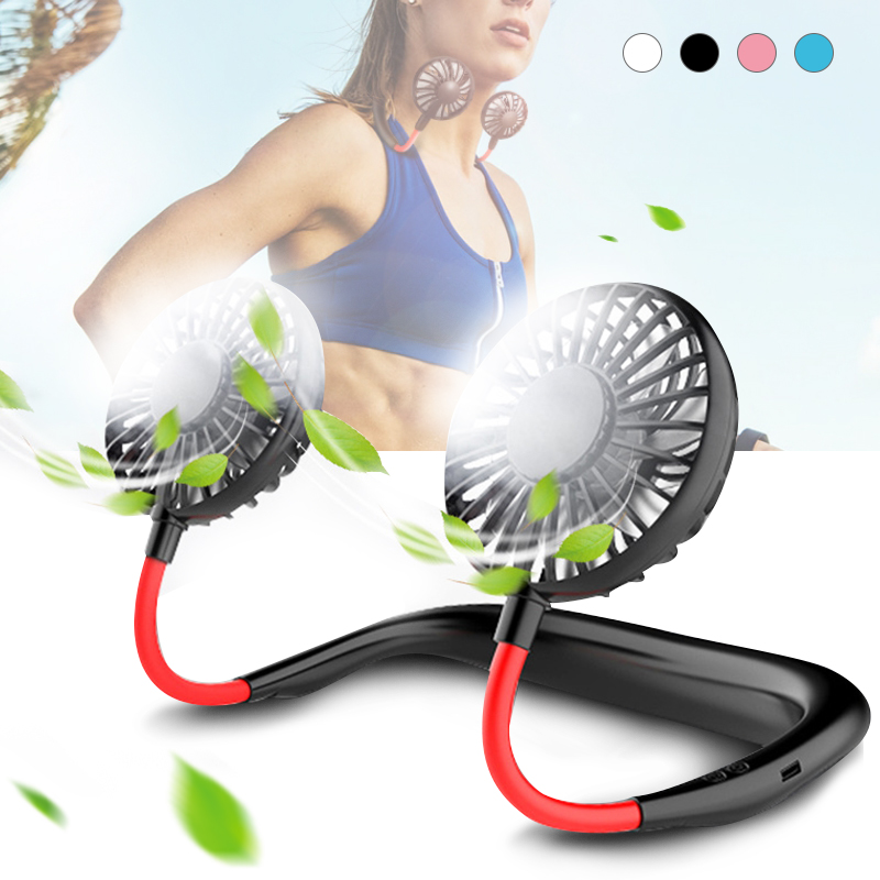 Mini USB Portable Fan Hands free Neck Fan Rechargeable Battery Small Portable Sports Fan 2000mA Desk Hand Air Conditioner cooler