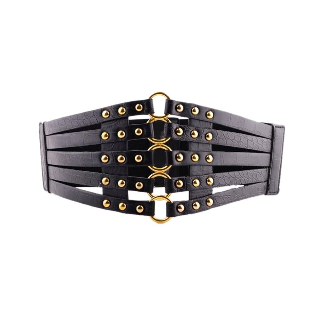 MISSKY Women Belt Girls Fashion Elegant Elastic Stretch Wide Band Rivet Waist Belt Corset For Female New