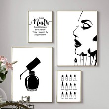 Abstract Nail Salon Quotes Makeup Canvas Painting Nail Tech Gift Poster and Print Fashion Wall Art Picture for Living Room Decor