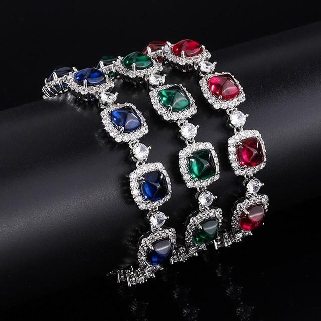 Shipei 100% 925 Sterling Silver Emerald Ruby Sapphire Created Moissanite Gemstone Fine Jewelry Bohemian Charm Bracelets Bangle 2