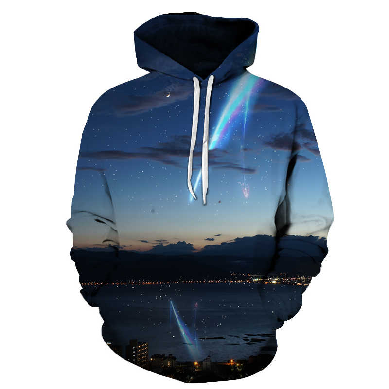 Casual Anime Your Name 3D Printed Man Pullover Hoodies Couples Autumn Long Sleeve Cartoon Design Sweatshirt For Man Streetwear
