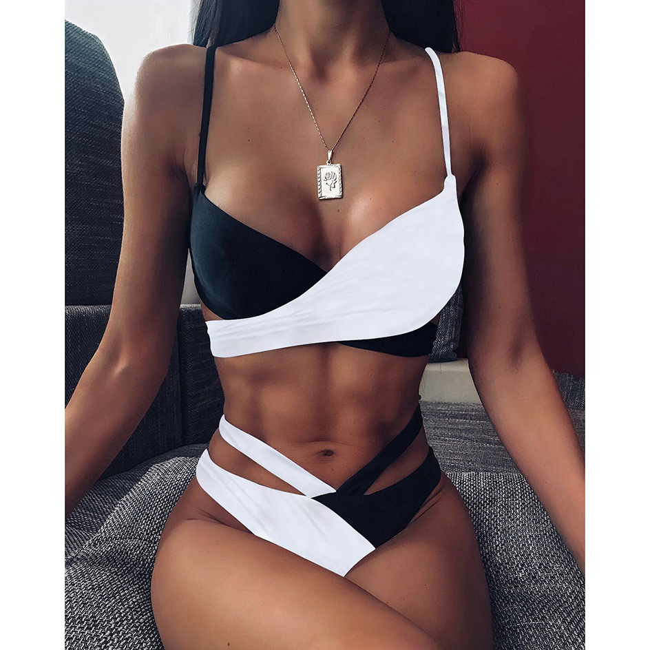 Sexy Cross Bandage Swimsuit Women Bikini 2020 Black White Patchwork Swimwear Female Micro Bikinis Set Swimming For  Bathing Suit