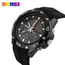 SKMEI Solar Dual Display Wristwatches Sport Watch Chronograph Alarm 50M Waterproof Complete Calendar Quartz Wristwatches 1064