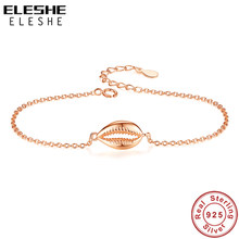 ELESHE 925 Sterling Silver Bracelet Gold Cowrie Shell Bracelets for Women Adjustable Chain Beads Charm Bracelet Beach Jewelry(China)