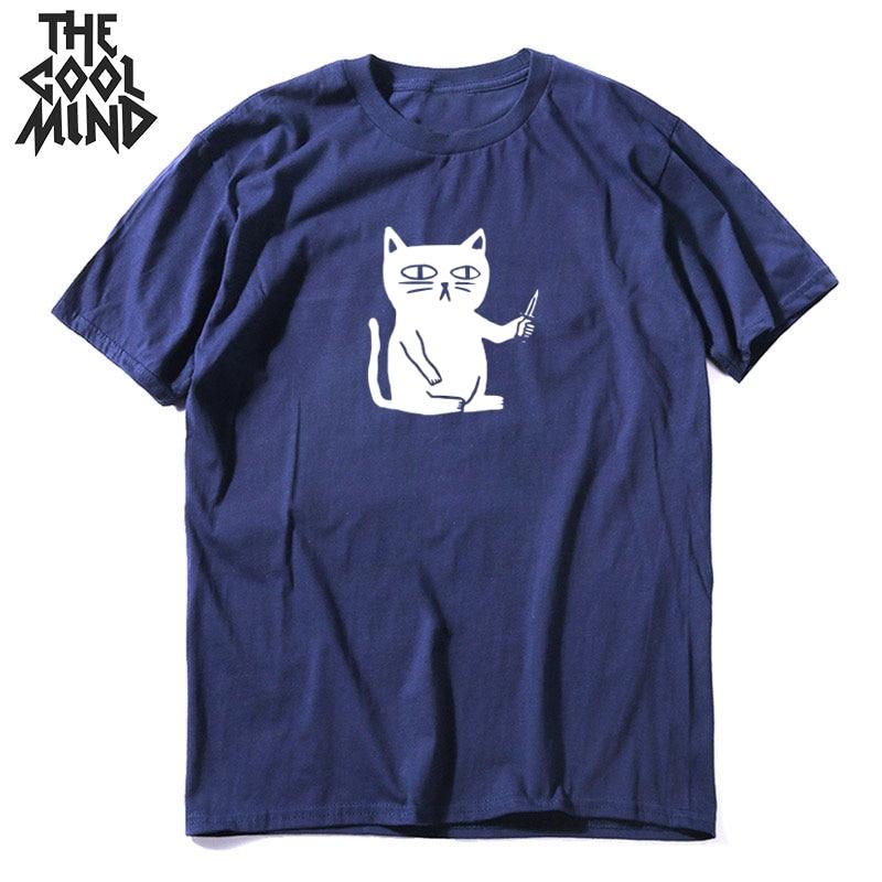 COOLMIND 100% Cotton Short Sleeve O-neck Cool CAT Men T Shirt Casual Print Men Tshirt Cool T-shirt Male Men Tee Shirts