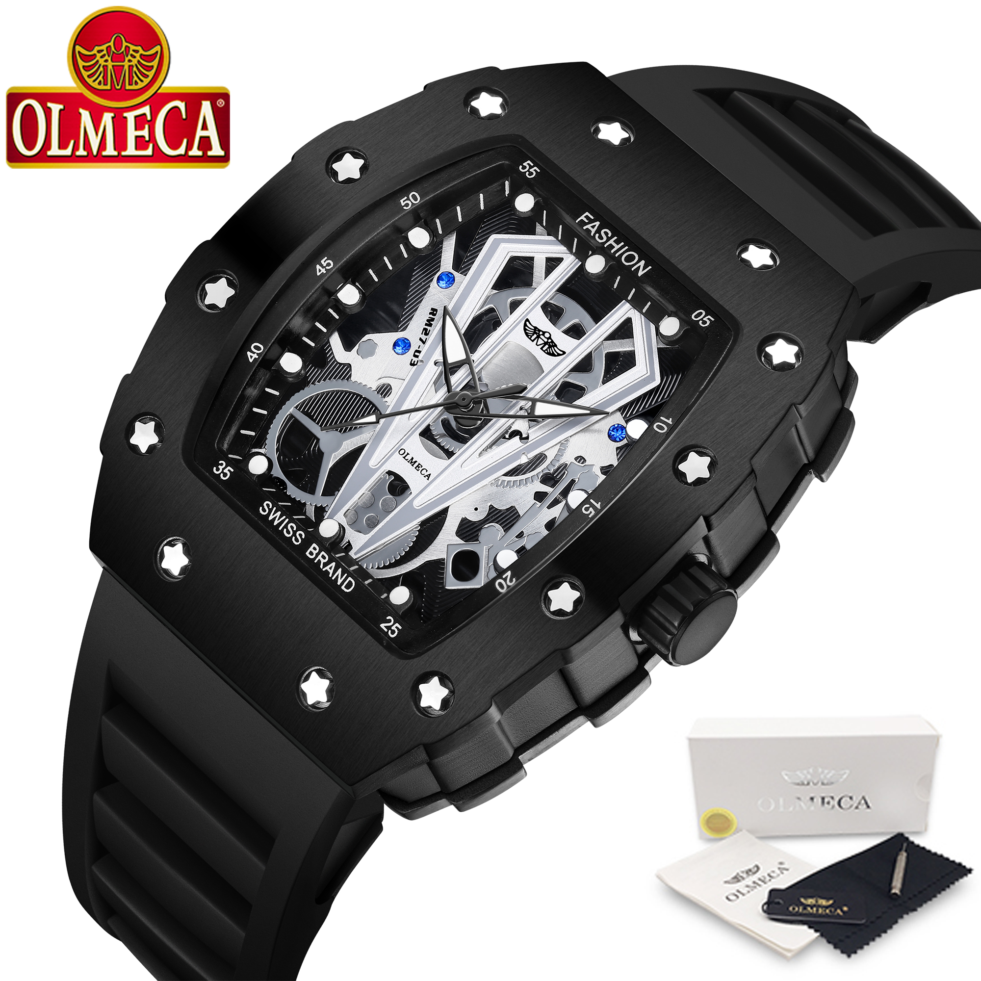 OLMECA Men's Luxury Famous Top Brand Military Army Fashion Sport Automatic Mechanical Dial Style Waterproof Luminous Chronograph (Black)