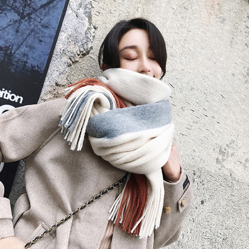 Women Solid Cashmere Scarves Lady Winter Tassels Thicken Warm Soft Pashmina Shawls Wraps Pink Black Female Knitted Wool Long