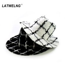New Fashion Autumn Winter Plaid Hats For Women White Church Fedora Ladies Black Crochet Jazz Hat Elegant Panama Cap Wholesale